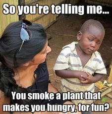 You smoke a plant that makes you hungry for fun?